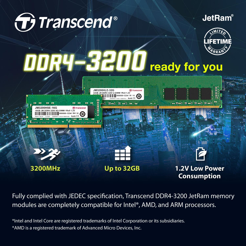 Transcend DDR4-3200 U-DIMM (JetRam)